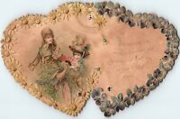 1880's Die-Cut Embossed Floral Hearts Lovely Ladies Victorian Trade Card P120