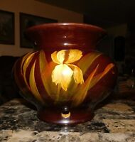 WELLER DICKENS WARE ANTIQUE JARDINIERE ART POTTERY FLOWER POT With 4 Holes
