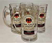 4 Bacardi Oakheart Smooth Spiced Rum Glass 14oz Mugs new with stickers USA