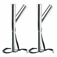 2 Pack Dual Double Boat Fishing Outrigger Rod Holders with Safety Strap and Clip