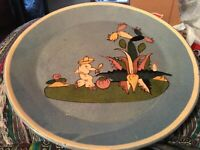 Vintage Tlaquepaque Mexican 1940 Blue Tourists Pottery Plate with Senor