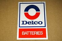 NOS AC Delco Batteries Double Sided Hang Sign Stout Company