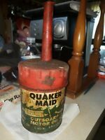 Vintage Quaker Maid Oil Can With Oil Spout  rare greasy outboard motor oil can