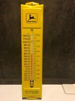 John Deere Farm Tractor Embossed Metal Thermometer Sign VERY GOOD SHAPE!