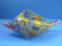Murano Cornucopia Vessel HeavyHand Blown Clown Glass Multi-Colored Ground Pontil