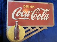 Vintage 1939 Coca Cola double sided flange sign