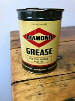 Vintage Diamond DX 1 lb Grease Can Collectible - Original One Pound Gas Oil Sign