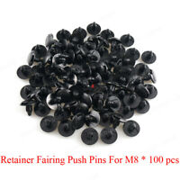 M8 Hole 100pcs Plastic Push In Type Rivets Fastener Pin Clips ATV For Motorbike