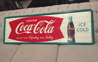 Drink Coca Cola Ice Cold 1960s Horizontal Fishtail Bottle Advertising Soda Sign