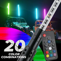 5ft RGB LED Lighted Antenna Light Whip Flag Pole For ATV UTV RZR Off Road Buggy