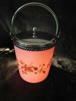 Antique Meriden Art Glass Peach Blow Cracker Jar