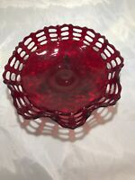 Ruby Red Basket Weave Pattern Glass Plate