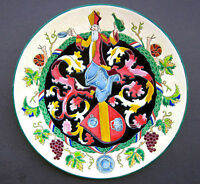 Longwy Faience Platter Decor France de J. Rabet Diameter 14 1/2