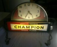 Vintage Art Deco Champion Spark Plugs Clock Light