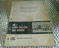 Vintage Massey Ferguson MF 7 lawn  tractor and mower operator's  Owner's manual