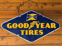 Vintage 1939 Goodyear Tires Porcelain Sign Double Sided 36x20 Garage Shop Sign