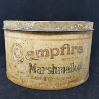 VTG Distressed Large Campfire Marshmallows Advertising 5 Lbs Tin with Lid 0490