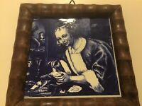 Delft Tile Framed Vintage with Woman-Masters Collection
