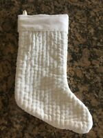 Pottery Barn Velvet Channel Quilted CHRISTMAS Stocking Medium IVORY NWT No Mono