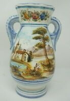 Italy Signed DERUTA Pottery Vase 8quot; Tall White Blue Floral Country Side View
