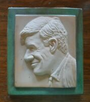 Vintage Frankoma Art Pottery Will Rogers White 3D Wall Tile Plaque  5-1/4