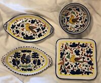 Vintage SM Pottery Italy Set of 4 Dishes Bowl Square Plate 2xOval Trays Birds