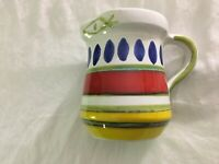SIGNED DESIMONE ITALY hand painted COLORFUL STRIPED ITALIAN ART POTTERY PITCHER.