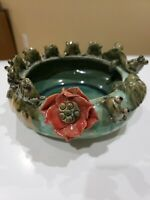VINTAGE MAJOLICA STYLE ART POTTERY 10 FROGS ON LILY PAD BOWL/BAMBOO PLANTER