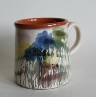 Primitive Greece Wheel Thrown Red Clay ART POTTERY MUG Cup Lovely Drip Glaze!