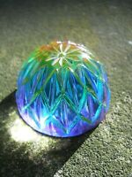 Vintage Art Glass- Decorative Multi Colored Etched Paperweight- 2