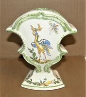 Vintage MAJOLICA Ceramic Pottery 3 HOLE VASE  Hand Painted