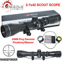 AIM SPORTS Long Eye Relief 2-7x42 Scope with Weaver Rings Rangefinder Reticle
