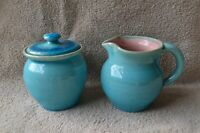 Pisgah Forest Pottery Large Blue Creamer and Lidded Sugar