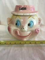 Cardinal American Bisque USA Cookie Jar Freckle Face Girl Straw Hat Bow Vintage