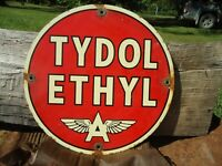 VINTAGE OLD FLYING A TYDOL WITH ETHYL GASOLINE PORCELAIN GAS PUMP SIGN
