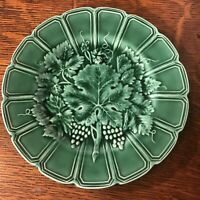 French Antique Majolica Sarreguemines Plate - Green Vine Grapevine. 11 Available
