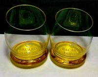 Bacardi Limon Roly Poly Glass Slant Top Yellow Bat Logo 4 Ounce Set Of (2) Two