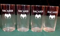 BACARDI RUM TALL GLASS BAT LOGO DESIGN RON BACARDI SIMPLE ELEGANT SET OF (4)
