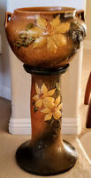 Roseville Pottery Clematis Flowered Jardiniere on Pedestal # 667-8 1920's Unique