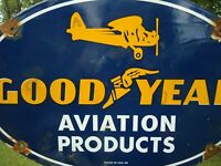 OLD 1939 GOODYEAR AVIATION PRODUCTS PORCELAIN ADVERTISING SIGN