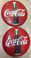 Lot Of 2 Vintage 1990 & 92 Coca Cola Round Button Signs  Sign 12""
