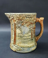 WELLER POTTERY FOREST HANDLED PITCHER GREAT MOLD AND COLOR
