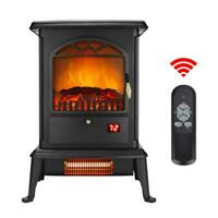 1400W Electric Fireplace Heater Wood Fire Flame Stove 68-95℉/20-35℃ Adjustable