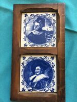 Delft Blue white pottery tile wood frame hand painted Made in Holland. Vintage