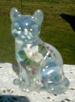 FENTON ART GLASS CAT IN FRENCH OPALESCENT, HAND PAINTED BY J. CUTSHAW