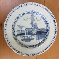 Antique English delft delftware plate, circa 1740