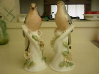 2 Vtg Dove Figurine Crown Staffordshire Fine Bone China by B Linley Adams signed