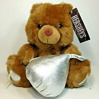 Hershey's Kiss Teddy Bear holding Jumbo Chocolate Plush Kisses Brown Animal 12
