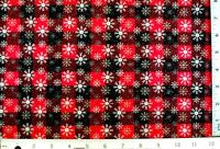 BTY* RED BLACK BUFFALO CHECK CHRISTMAS GLITTER SNOWFLAKES amp; STARS COTTON FABRIC