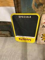 RARE Vintage NuGrape Metal Menu Chalk Board Sign SODA COLA GAS OIL STORE